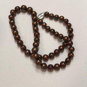 Brown Freshwater Pearls With Sterling 925 Clasp